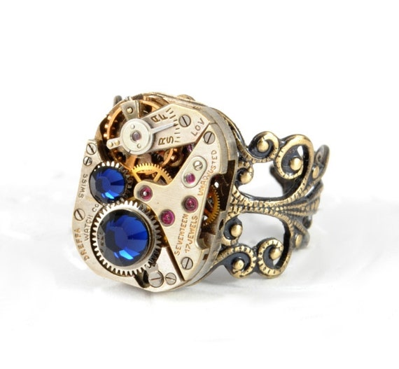 Steampunk Ring Steam Punk Ring Steampunk Vintage Watch Ring Dark Blue Steam Punk Watch Ring Steampunk Jewelry By Victorian Curiosities