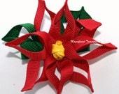 Mini Poinsettia Ribbon Sculpture Hair Clip or Pin