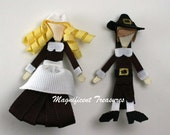 Pilgrim Girl and Boy  Ribbon Sculpture Hair Clips or Pins