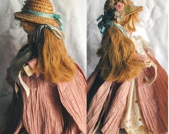 Vintage Handmade Collectible Paper Ribbon Doll Pink - Samantha