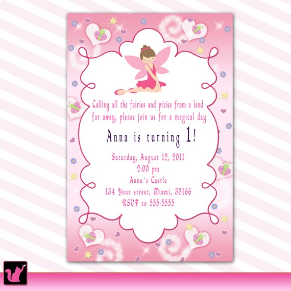 Fairy Birthday Invitation Princess Custom Girl 1st By