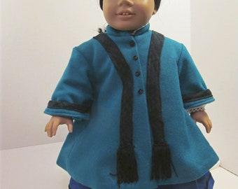 Historical Wool Coat, Wool Swing Coat , Fringed Scarf, Doll Coat, Wool Coat