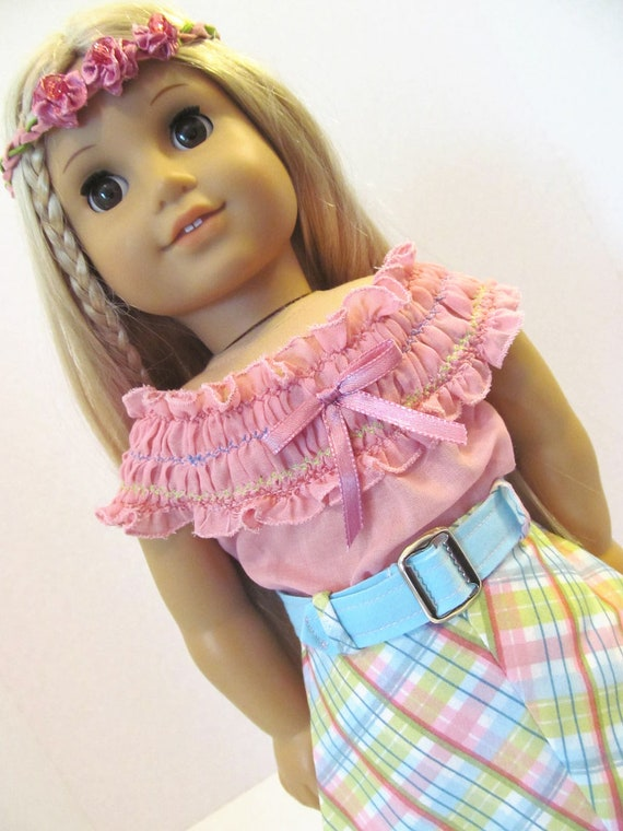 Julie Style,  Pink and Plaid , American Girl Doll Clothes