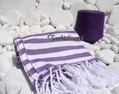 Turkishtowel-Soft-Highest Quality Pure Organic Cotton,Hand Woven,Bath,Beach,Spa Yoga,Travel Towel or Sarong- Purple,Mauve and White  Stripes