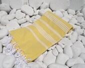Turkishtowel-New-Hand Woven,high quality,soft bath,beach,spa,yoga,travel towel or sarong-White stripes on yellow