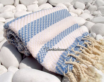 Turkishtowel-Highest Quality Pure Organic Cotton,Hand Woven,Bath,Beach,Spa,Yoga Towel or Sarong-Mathing-Natural Cream and Blue