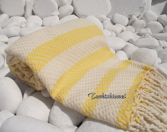 Turkishtowel-Highest Quality Pure Organic Cotton,Hand Woven,Bath,Beach,Spa,Yoga Towel or Sarong-Mathing-Natural Cream and Yellow