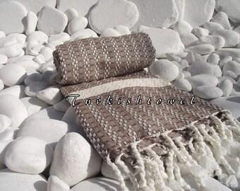 Turkishtowel-Highest Quality Pure Organic Cotton,Hand Woven,Bath,Beach,Spa,Yoga Towel or Sarong-Mathing-Natural Cream and Brown