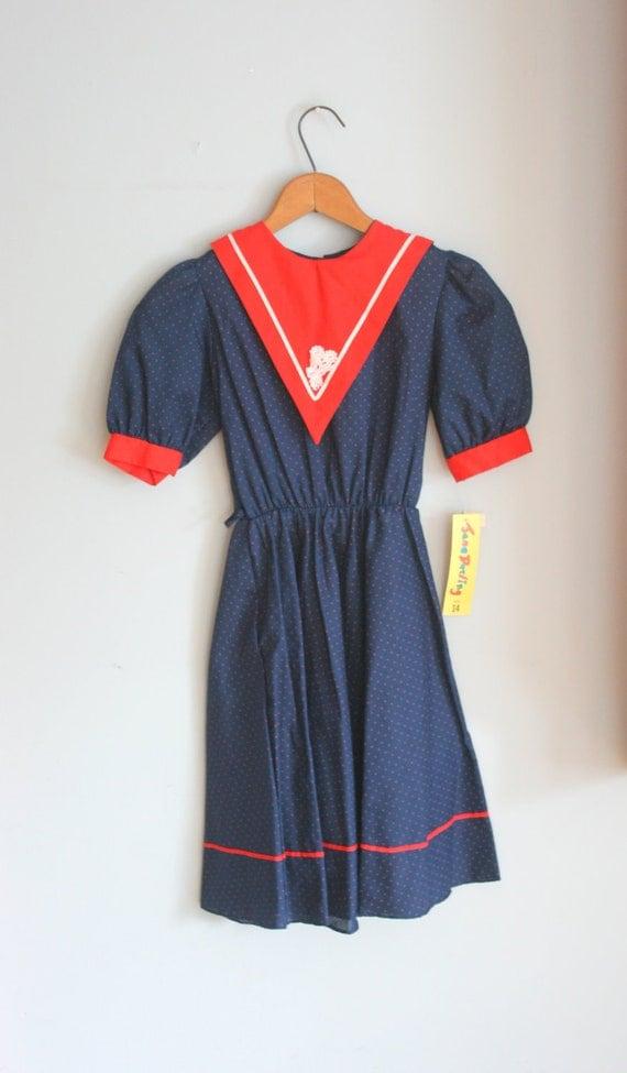 60s POLKA DOTS Navy Red Girls Dress...size 14 girls....kids. children. navy. sailor. nautical. school girl. ruffled. mod. retro