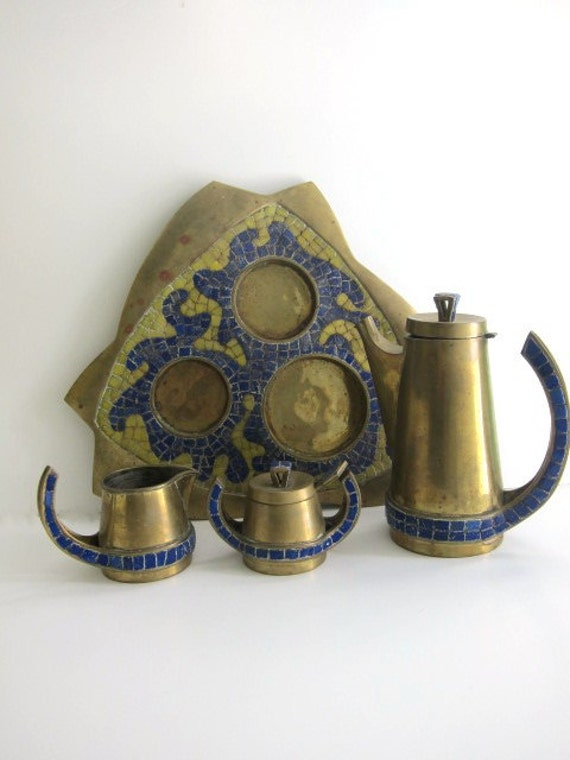 Vintage Salvador Teran Mosaic Tea Set with blue and yellow mosiac