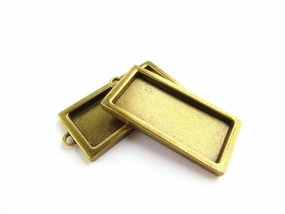 2 Deep Bezel Trays Antiqued Brass