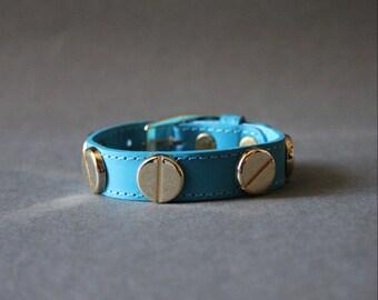 French Stud Leather Bracelet-Medium Size (TURQUIOSE)