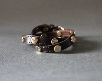 Screw Stud Ornament Leather Bracelet(Dark Brown)