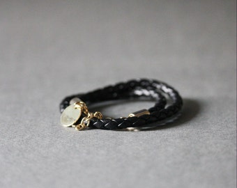 Double Wrap Braided Leather Bracelet(BLACK)