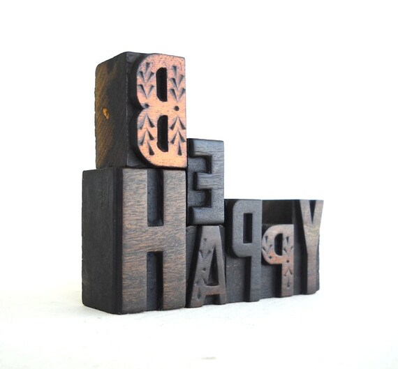 BE HAPPY - 7 Vintage Letterpress Wood Type Alphabets Collection - VG6