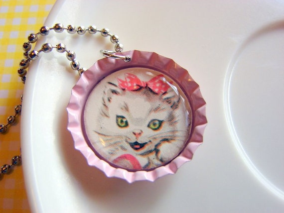 SALE Bottle Cap Pendant Necklace - White Kitten with a Pink Bow - Paper and Resin - Vintage Retro Cat - Pink Bottlecap - One of a Kind