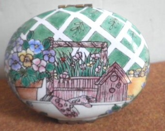 Enamel Garden Trinket Box