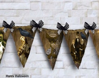 Printable Halloween bunting flags Zombies instant download