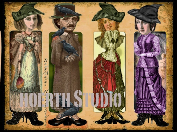 Printable Bookmark Steampunk Gothic Paper Doll Bookmarks instant download