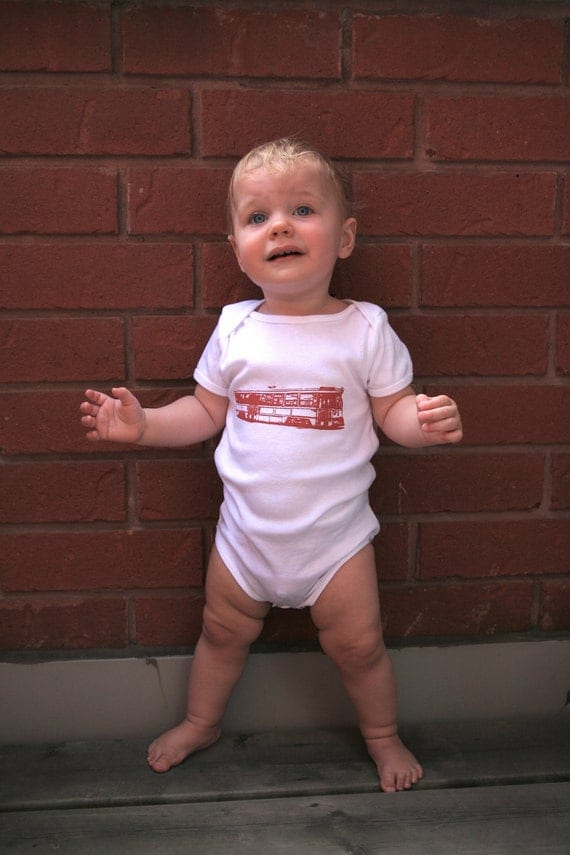 6-12 mos White Baby Onesie / Red Side Streetcar