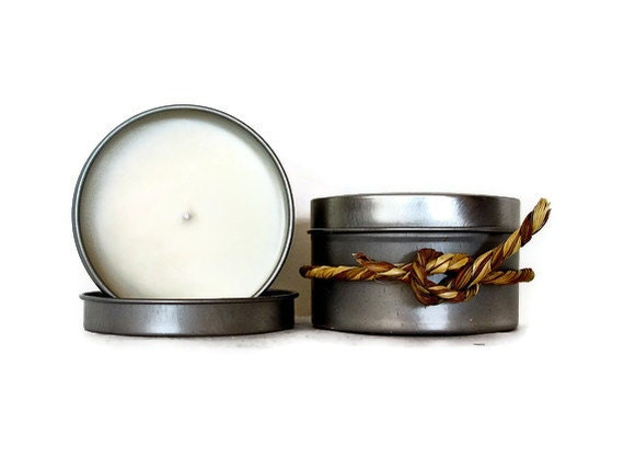 Candles, Fresh Coffee Scented Soy Candles, Silver Travel Tin, Vegan Candles