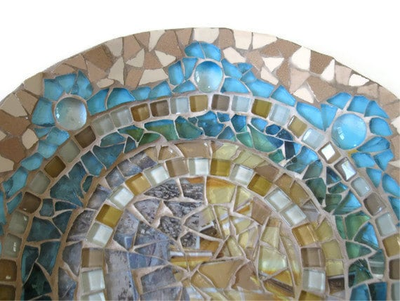 Plate Glass Mosaic Brown Turquoise Ceramic Porcelaine Wall Art
