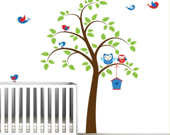 Vinyl Wall Decals Tree with Birds Owls-Nursery Wall Decals