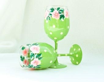 Hand Painted Wine Glasses, Green Polka Dot