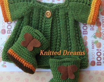 Waldorf dolls clothes set: cozy hand knitted green Coat and crochet Boots with butterflies.