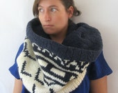 Chunky Fashion Snood and Capelet - Navy and Cream Tribal Motif - Unisex : Upcycled Recycled Repurposed