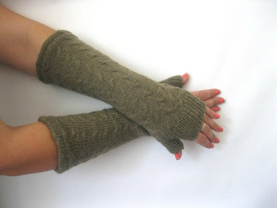 Wool Fingerless Gloves - Olive Green Cables Texting Gloves Arm Warmers : Upcycled Recycled Repurposed