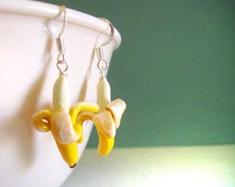 Fruity Banana Earrings, Clay Mini Fruit Earrings, Cute Kawaii Tropical Exotic Fruit, Monkey Food Earrings, Realistic