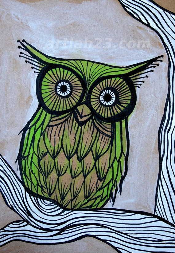 Woodland Green Owl on Tree Branch Art Print - woodland cute owl art - print of original painting