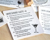 Cocktail Party Conversational Letterpress Coasters - set of 6 retro illustrations in black, hostess gift, under 15, made in Australia