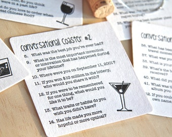 Party Coasters, Cocktail Party Conversational, conversation starter, Letterpress Coasters, x 6 retro illustrations in, hostess gift under 15