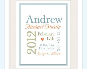 Custom Baby Boy Birth Announcement Print - Typography Wall Art