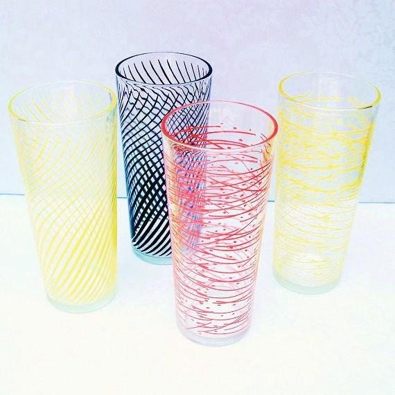 Lemonade Glasses   Vintage Glassware    Atomic Retro   Vintage Bar Glasses  Large Drinking  Mid Century Modern Water Glasses