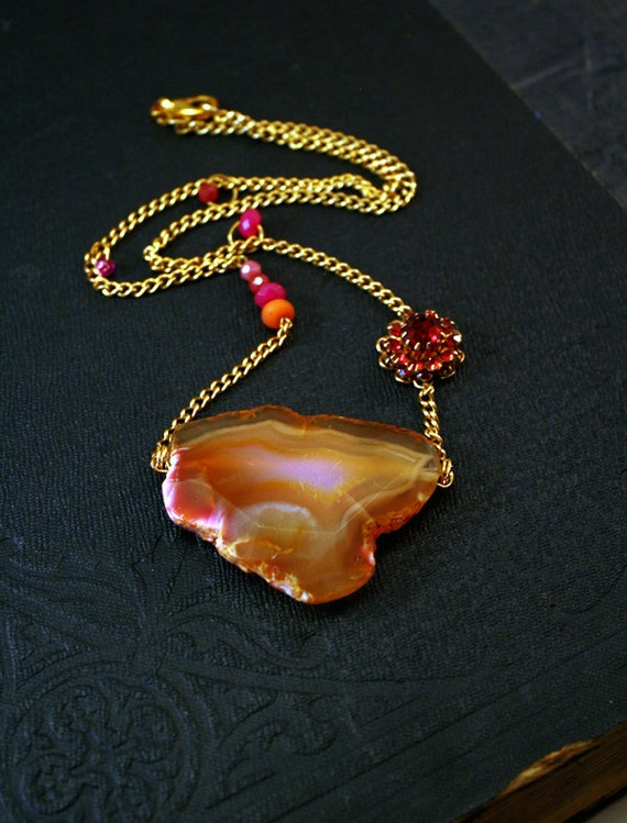 Druzy Gemstone Necklace Amber Pink Statement Necklace Gemstone Jewelry Geode Drusy Druzy Necklace Jewellery Gemstone Necklace