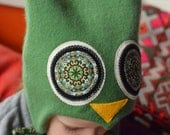 "Hoo Hat -Upcycled Felted Wool Owl Hat -Green Cashmere -Size Large (20.75-22"" head)"