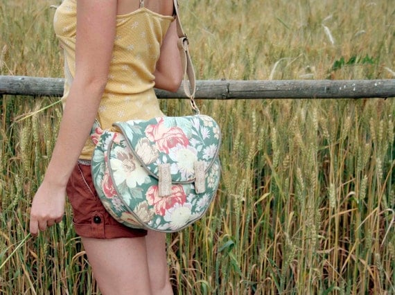 Floral messenger bag, everyday bag, green beige red large flowers, yellow polka dot lining , lace, magnetic  closure, OOAK-  ready to ship