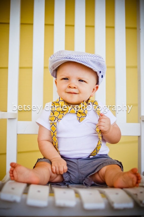 Vintage Yellow and Grey Bowtie and Suspender Set for newborn, toddler and boys