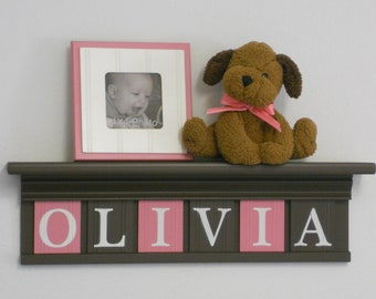 "Nursery Shelf - Nursery Decor Sign 24"" Brown Shelf - 6 Wood Letters Pink and Brown - Baby Girl - OLIVIA"