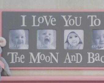 Pink Gray Nursery - I Love you to the Moon and Back - Pastel Pink and Grey Nursery Wall Art Baby Sign 4x4 Picture Frame
