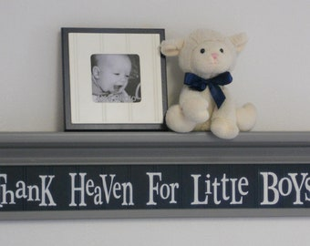 "Gray Nursery Shelving - Thank Heaven For Little Boys - Sign on 30"" Grey Shelf  Navy Blue Nursery Wall Decor"