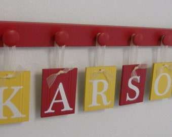 Names in Wood - Personalized Names - Wall Hangings Set for Nursery in Red and Yellow Letters with Matching Wooden Pegs in Red