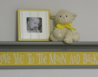 "Gray and Yellow Baby Nursery Decor - Baby Wall Decor Yellow Sign and 30"" Grey Shelf - Love You To The Moon And Back"
