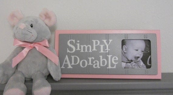 Pink and Gray Baby Boutique, Baby Girl Nursery Decor - Light Pink Sign Picture Frame - Nursery Wall Art - SIMPLY ADORABLE
