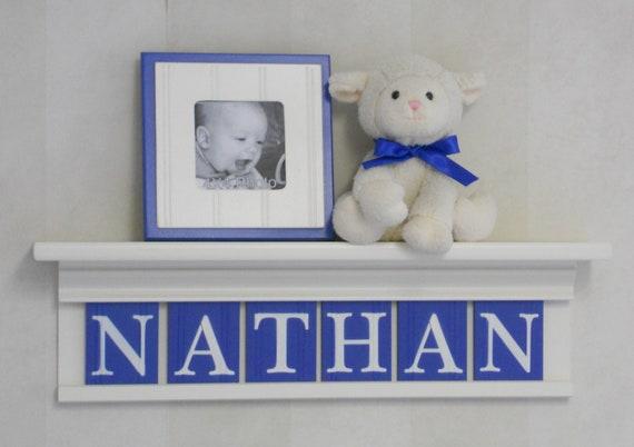 "Baby Letters on Wall - Boy Nursery Blue Art Decor - 24"" Shelf Linen White - Sign 6 Blue Letters - NATHAN"