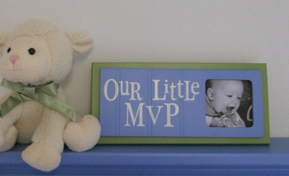 Blue and Green Nursery Decor - Baby Nursery Sports Photo Frame Sign - OUR LITTLE MVP