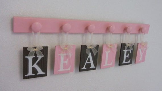 Baby Girl Room Decor Personalized for KEALEY- 6 Wooden Hooks in Pink and Brown Nursery Decor